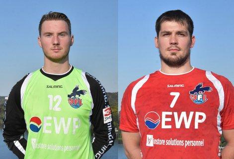 Sie bleiben Adler. Torwart Fabian Pellegrini (l.) und Kreisläufer Christian Schwarz haben ihre Verträge verlängert.