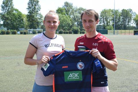 Der polnische NeuzugangMalgorzata Mesjasz mit Turbine-Trainer Mathias Rudolph.